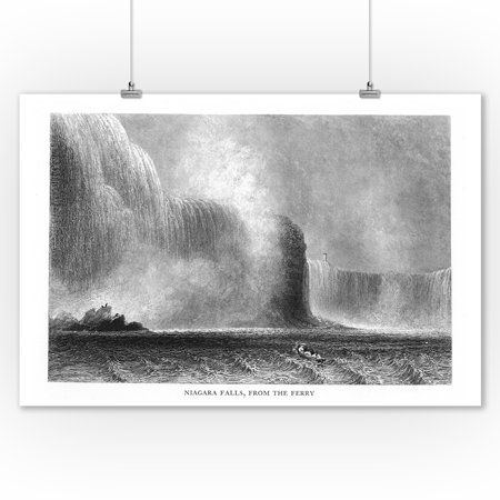 Niagara Falls, New York - View of the Falls from the Ferry (9x12 Art Print, Wall Decor Travel