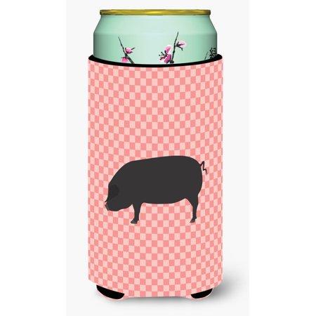 Devon Large Black Pig Pink Check Tall Boy Beverage Insulator Hugger Bb7931tbc