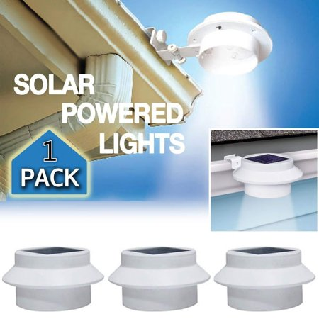 Solar Lights 3 Led Outdoor Gutter Ed Wireless Waterproof Exterior Security