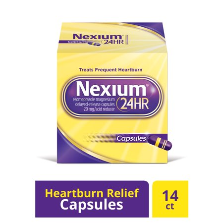 Nexium 24HR Delayed Release Heartburn Relief Capsules, Esomeprazole Magnesium Acid Reducer (20mg, 14 (Best Acid Reducer Medicine)