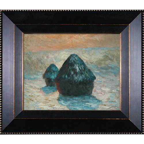 Wildon Home  Grain Stack, Snow Effect (Morning) by Claude Monet Framed Original Painting