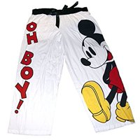 [P] Disney Womens' Mickey Mouse Pajama Capri Pant Red White (XL)