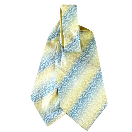 BuyYourTies - Yellow - Green Mens Silk Ascot and Pocket Square