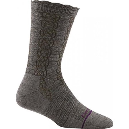 Kids Taupe Apparel - Darn Tough Vermont Cable Basic Crew Light Sock - Women's Taupe Small