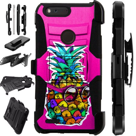 For ZTE Sequoia | ZMax 2 | Blade Z Max | Grand XMax 4 Case Hybrid Phone Cover LuxGuard Holster (Pineapple Sunglasses)