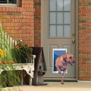 """Ideal Pet Products Deluxe Aluminum Pet Door with Telescoping Frame, Extra Large, 10.5"""" x 15"""" Flap Size, White"""