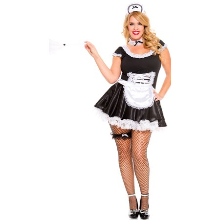 Plus Size Lace Trimmed French Maid Costume - Plus Size French Maid
