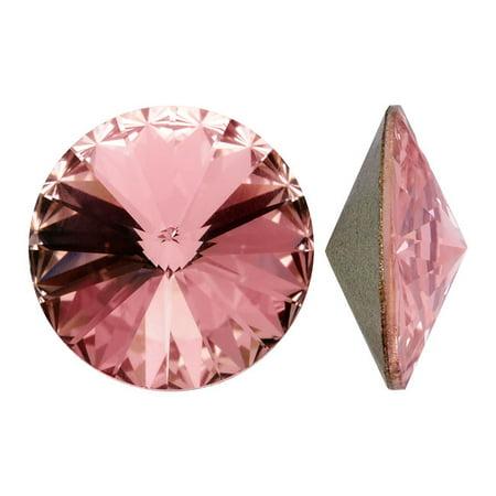 Vintage Rose Crystal - Swarovski Crystal, #1122 Rivoli Fancy Stones 14mm, 2 Pieces, Vintage Rose F