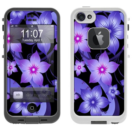 (SKIN DECAL FOR LifeProof FRE Apple iPhone SE Case - Purple Dahlia Flowers on Black DECAL, NOT A CASE)