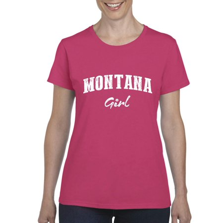 Artix Mt Girl Montana Flag Billings Map Bobcats Grizzlies Home University Of Montana Womens T Shirt Tee Clothes