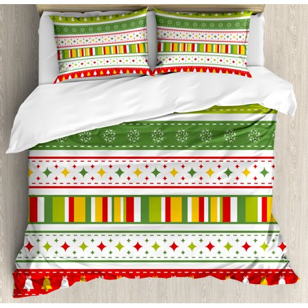 Border Bedding - Christmas Queen Size Duvet Cover Set, Set of Traditional Seasonal Borders Stars Bells Trees Stripes Print, Decorative 3 Piece Bedding Set with 2 Pillow Shams, Lime Green Yellow Red, by Ambesonne