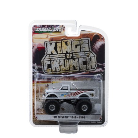 "1970 Chevrolet K-10 USA-1 Monster Truck White ""Kings of Crunch"" Series 1 1/64 Diecast Model Car by Greenlight"