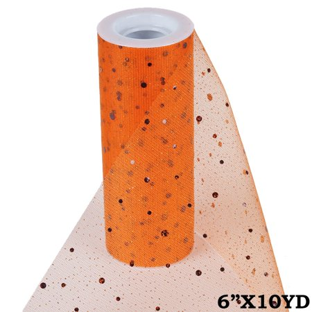 BalsaCircle 6 inches x 10 yards Sequined Sheer Tulle Ribbon by the Roll Crafts Sewing Wedding Party Draping DIY - Orange Net Lights Halloween