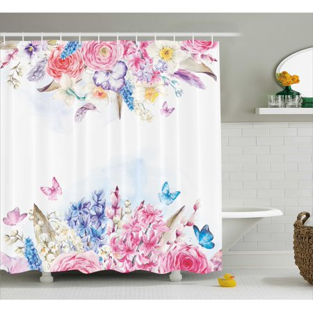 Shabby Chic Shower Curtain Romantic Garden Roses Flowers Daisies Leaves Print Fabric Bathroom Set