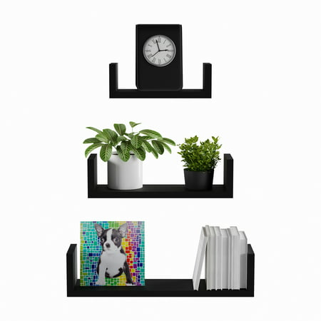 3 Shelf Wall - Floating Shelves- U Shape Wall Shelf Set with Hidden Brackets, 3 Sizes to Display Decor, Books, Photos, More- Hardware Included by Lavish Home (Black)