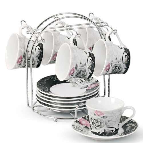 Lorren Home Trends Espresso Cup and Saucer Set with Metal Stand