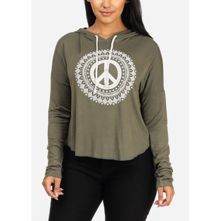 Womens Juniors Casual Comfy Loungewear Peace Graphic Print Long Sleeve  Loose Olive Pullover Sweatshirt Hoodie 20614T 33200e90d8