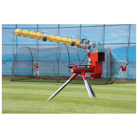 Heater Sports Heavy-Duty Real Ball Pitching Machine & Home Batting Cage Combo ()