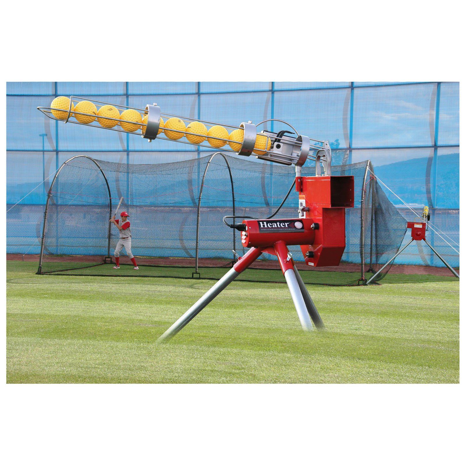 Heater Sports 24 ft. Baseball Pitching Machine & Xtender Batting Cage Package