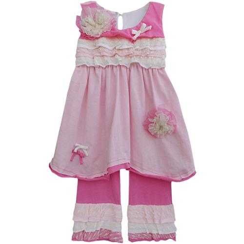 Isobella & Chloe Baby Girls Pink Carnation Kisses Two Piece Pant Set 24M
