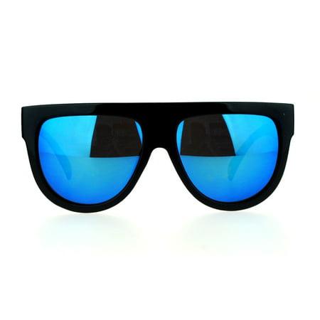 SA106 Mirrored Lens Boyfriend Fit Flat Top Diva Mafia Mob Sunglasses Blue (Sunglasses Flat Top)