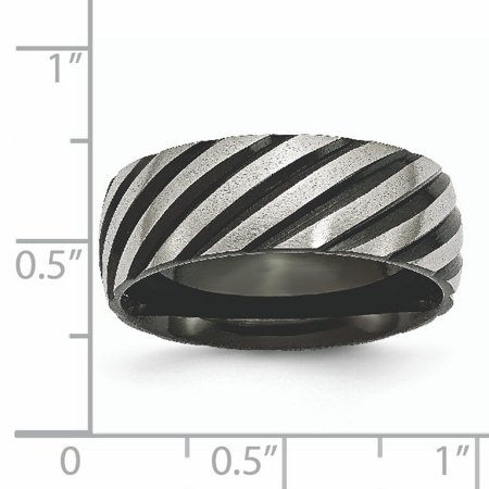 Titanium 8mm Black Plated Swirl Brushed Wedding Ring Band Size 12.00 Fancy Fashion Jewelry Gifts For Women For Her - image 3 of 10