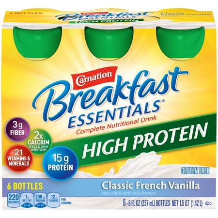 Carnation Breakfast Essentials High Protein, Classic French Vanilla, 8 fl. oz. Bottles, 6