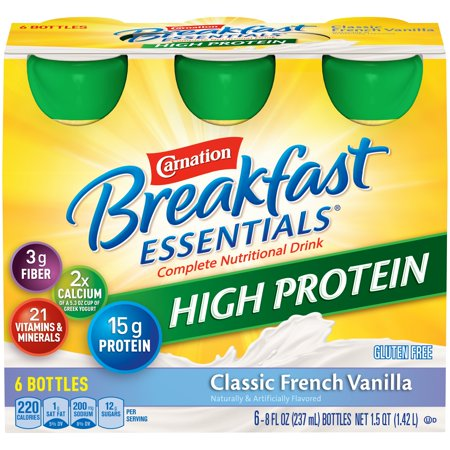 Carnation Breakfast Essentials High Protein, Classic French Vanilla, 8 fl. oz. Bottles, 6 Count - Halloween Breakfast Drinks