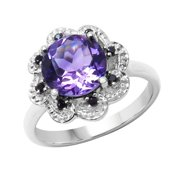 Sterling Silver Amethyst and Black Spinal Ring Size: 8, Color: Purple