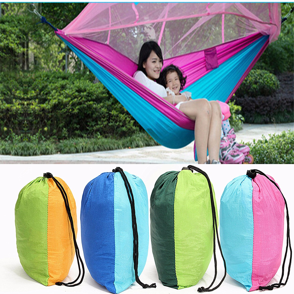 Portable High Strength Nylon Camping Hammock Hanging Double Bed With Mosquito Net Sleeping Hammock(Size: 102x54 inch)