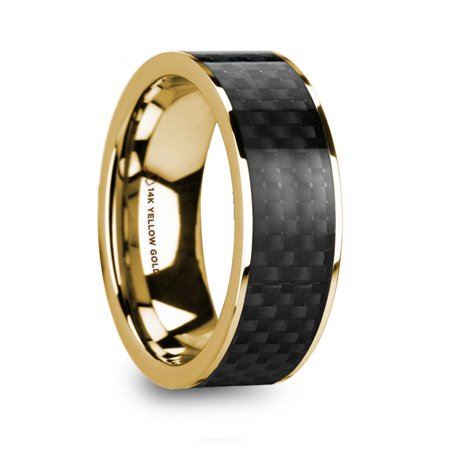 Baruch Polished 14K Yellow Gold Mens Wedding Ring With Black Carbon Fiber Inlay