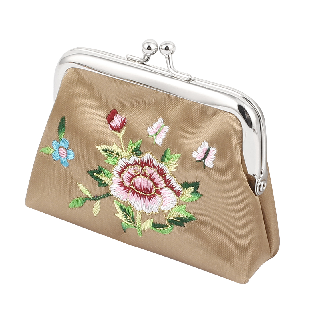 Lady Flower Embroidery Kiss Lock Closure