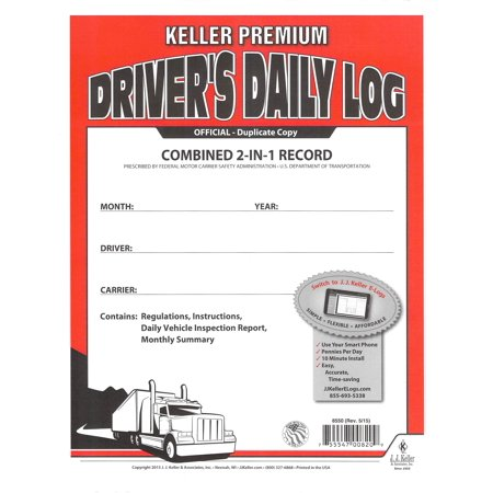 J.J. Keller 8550 (605L) 2-In-1 Drivers Daily Log Book w/ Detailed DVIR
