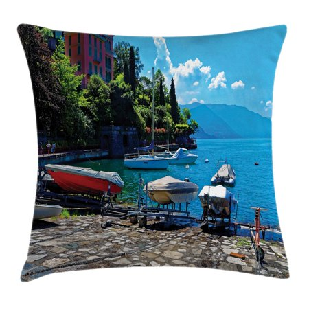 Coastal Decor Throw Pillow Cushion Cover Italian Harbor In Verena With Fishing And Sail Boats