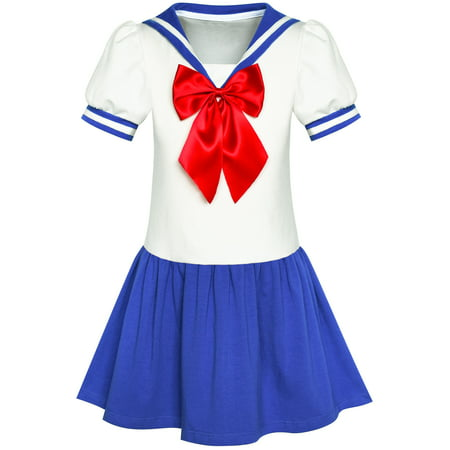 Girls Dress Sailor Moon Cosplay School Uniform Navy Suit 6 Years
