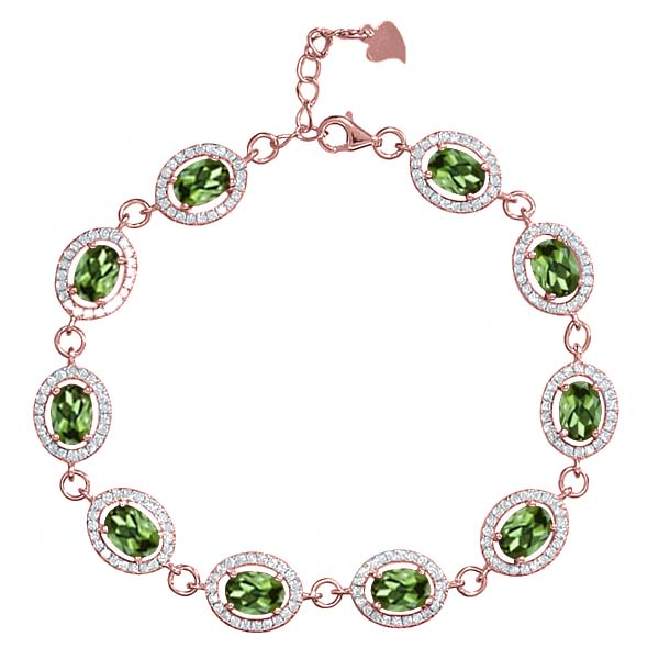 11.38 Ct Oval Green Tourmaline 18K Rose Gold Plated Silver Bracelet by