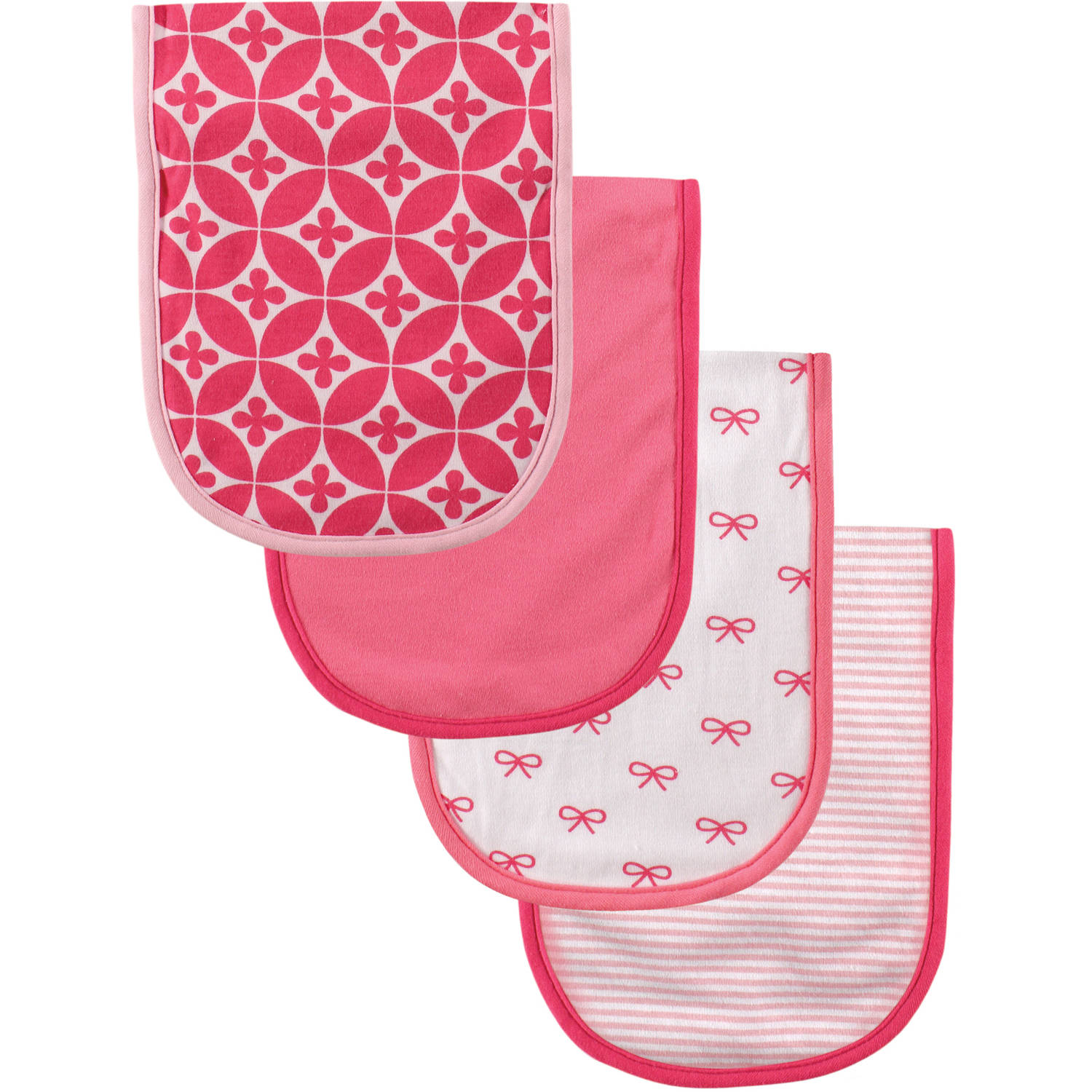 Luvable Friends Burp Cloth with PEVA, 4pk, Girl