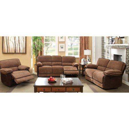 Furniture Of America Glen 3 Piece Chenille Fabric Recliner Sofa Set Mocha Dark Brown