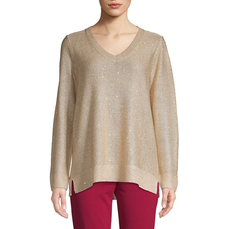 Calvin Klein Jeans Women Sweaters - V-Neck Sequined Sweater
