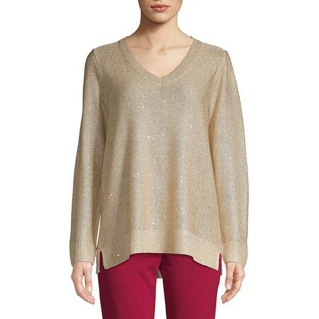 V-Neck Sequined Sweater