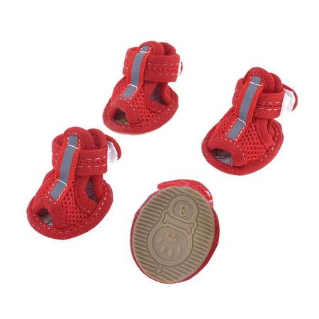 Unique Bargains 2 Pairs Rubber Sole Red Mesh Sandals Yorkie Chihuaha Dog Shoes Size S