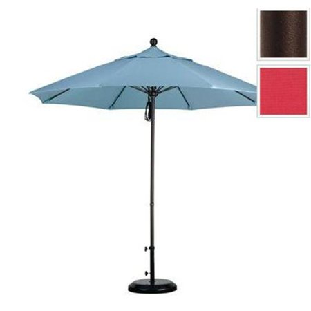 California Umbrella ALTO908117-F13 9 ft. Fiberglass Pulley Open Market Umbrella - Bronze and Olefin-Red - image 1 of 1
