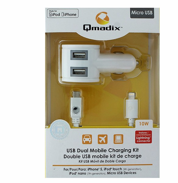 Qmadix Dual USB Car Charger with Micro USB & Lightning Cable - White