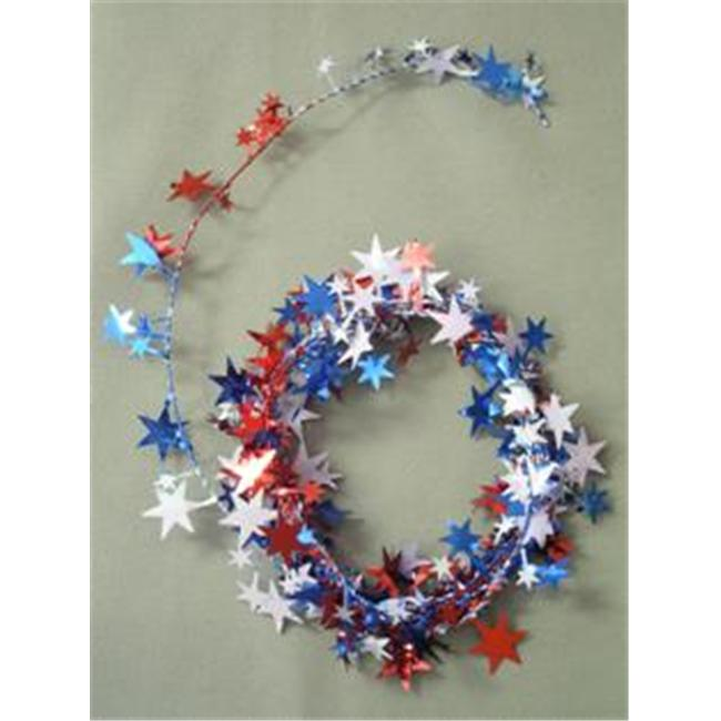 Party Deco 04513 12 ft. Red- White and Blue Star Wire Garland - Pack of 12