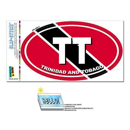 Trinidad And Tobago Country Flag - TT Euro Oval SLAP-STICKZ(TM) Premium Sticker