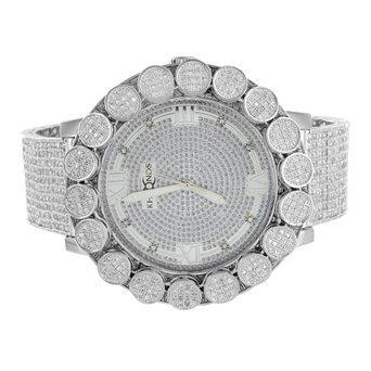 Mens Khronos Diamond Watch Techno Bling Removable Bezel Analog Iced Tray Band