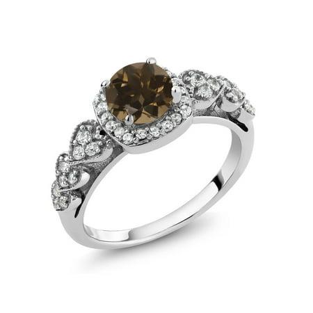 Quartz Elegant Ring - 1.12 Ct Round Brown Smoky Quartz 925 Sterling Silver Ring