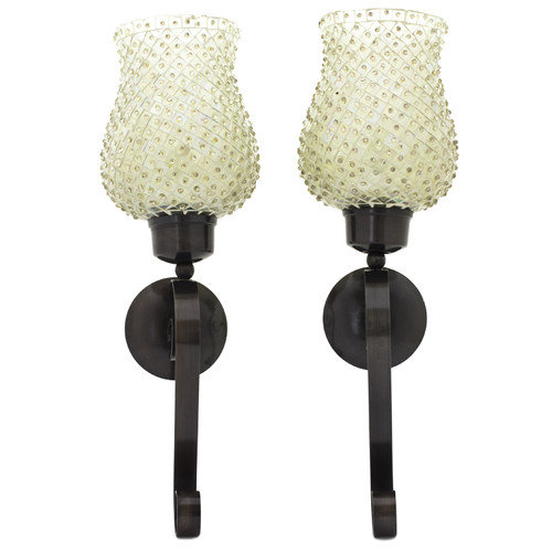 Chic 2 Piece Wall Sconces With Beaded Mosaic Glass by Benzara Inc.