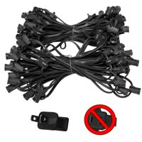 "Holiday Lighting Outlet C7 Christmas Light String, Patio Event Lighting, 100', Black Cord, 12"" Socket Spacing, E12"