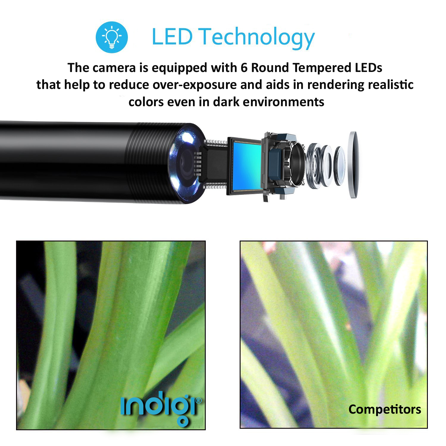 HD Waterproof Wireless Inspection/Diagnostic Camera by Indigi® [ 1M Length - 8x Adjustable LEDs - iOS & Android ] - image 4 of 5
